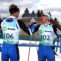Erik Bjornsen (l) and Reese Hanneman congratulate each other [P] Herb Swanson