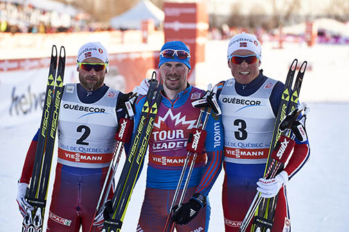 (l-r) Petter Northug (NOR), Sergey Ustiugov (RUS) and Emil Iversen (NOR) [P] Nordic Focus