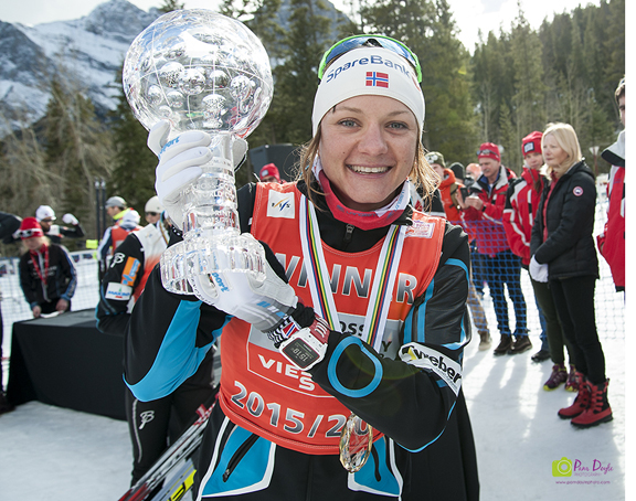 Maiken Caspersen Falla with Sprint Cup globe in Canmore, Alta. [P] Pam Doyle
