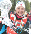 Maiken Caspersen Fall holds the FIS Crystal Globe for sprints at Ski Tour Canada in Canmore on March 8. Copyright of Pam Doyle @pamdoylephotography.comAll photos are fee-liable.
