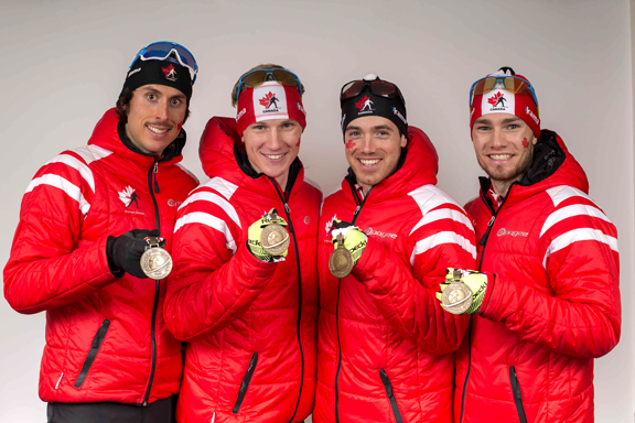 Team Canada with their medals (l-r) Brendan Green, Scott Gow, Nathan Smith, Christian Gow. [P] NordicFocus