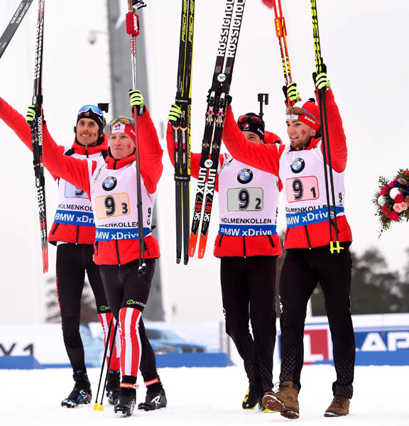 Team Canada (l-r) Brendan Green, Scott Gow, Nathan Smith, Christian Gow [P] Tumashov/Nordic Focus
