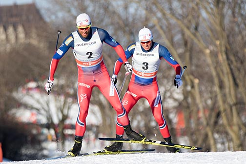 Petter Northug (l) and Emil Iversen [P] Reese Brown