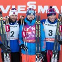 Podium (l-r) Petter Northug, Sergey Ustiugov and Emil Iversen[P] Reese Brown