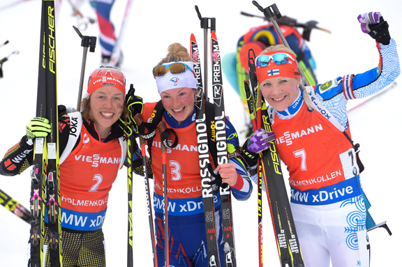 Women's Mass Start podium (l-r) Dahlmeier, Dorin Habert, Makarainen [P] Nordic Focus