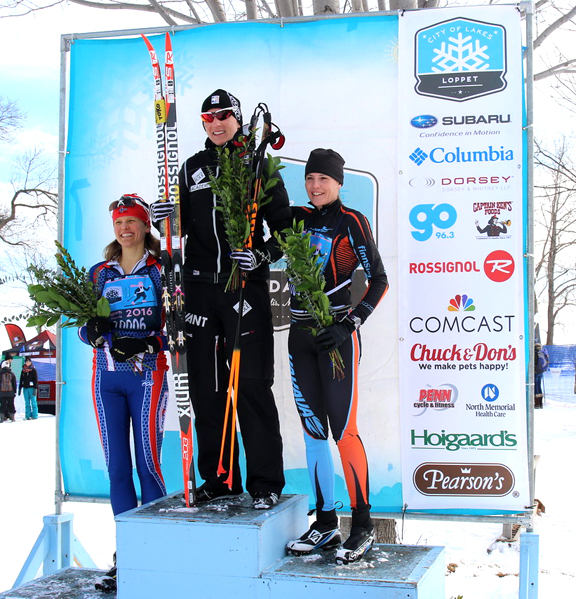 Natalia Naryshkina at the top of the podium after the City of Lakes Loppet 42k Classic Race. [P] courtesy of CXC