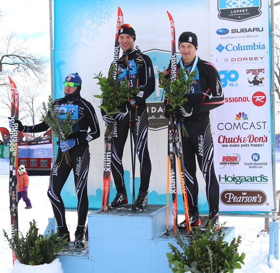 A Podium Sweep by the CXC Men's Team at the City of Lake Loppet 42k Classic. [P] courtesy of CXC