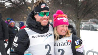 Simi Hamilton and Jessie Diggins celebrate their third place finishes in the opening event of Ski Tour Canada in Gatineau, Quebec - first time in history a U.S. man and woman have podiumed on the same day. [P] USSA-Reese Brown