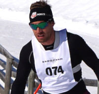 Simi Hamilton of the US Nordic Ski team on his way to victory in today's FIS Cross-Country Skiing ANC Freestyle race [P] Snow Farm NZ