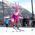 ocelyn Hundert with the Foothills Cross Country ski club lets her fairy wings help her jump over an obstacle in the kids Halloween costume race [P] Pam Doyle