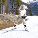 Kai Perron, with the Canmore Nordic Ski Club, wears an elephant suit as he skis in the kids relay [P] Pam Doyle