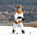Madeline Wickins, 6, with the Canmore Nordic Ski Club, skis in her horse costume [P] Pam Doyle