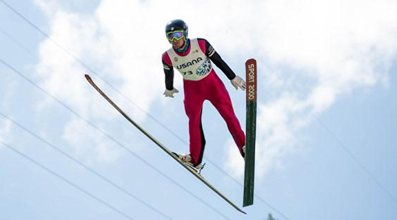 Taylor Fletcher soars at the 2016 Springer Tournee at the Utah Olympic Park [P] USSA