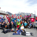 National XC Ski and Para Nordic Ski teams pose with kids from the Canmore Nordic and Foothills Nordic Ski Clubs [P] Pam Doyle