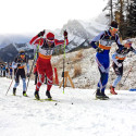National Para-Nordic skier Brian McKeever heads out in a strong heat with Antoine Hébert, Jack Carlyle and Reed Godfrey [P] Drew Goldsack