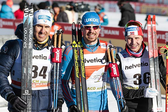 (l-r) Maurice Manificat (FRA) 2nd, Sergey Ustiugov (RUS) 1st and Simen Hegstad Krueger (NOR) 3rd [P] Nordic Focus