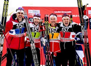 22.01.2017, Ulricehamn, Sweden (SWE): Len Valjas (CAN), Alex Harvey (CAN), Knute Johnsgaard (CAN), Devon Kershaw (CAN), (l-r) - FIS world cup cross-country, 4x7.5km men, Ulricehamn (SWE). www.nordicfocus.com. © Modica/NordicFocus. Every downloaded picture is fee-liable.