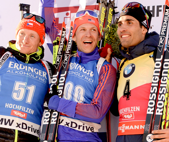 Men's 20k Pursuit podium Final podium with their medals [P] Nordic Focus