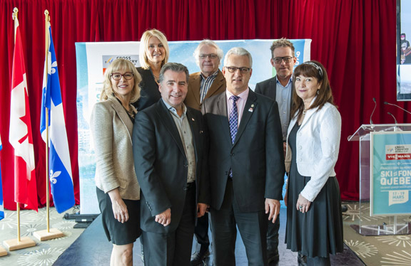 (Back row) Chantal Lachance, Vice-president of Gestev, Martial De Rome, President of Quebec Winter Events Corporation, Patrice Drouin, President of Gestev (Front row) Nathalie Langevin, Manager TVA, André Drolet, Member for Jean Lesage, Québec Gov., Stéphane Lauzon, Member for Argenteuil - La Petite-Nation Canadian Gov., Michèle Gagné, Secretary-Director General for The National Battlefields Commission [P] Steve Deschênes