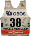 World Cup bib worn by Kikkan Randall in the 30k classic at Holmenkollen, Norway. Signed by Kikkan Randall, Sadie Bjornsen, Liz Stephen, Rosie Brennan and Chelsea Holmes [P] NNF