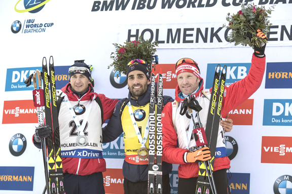 Men's 15km Mass Start podium (l-r) Rastorgujevs 2nd, Fourcade 1st, Eder 3rd [P] Nordic Focus