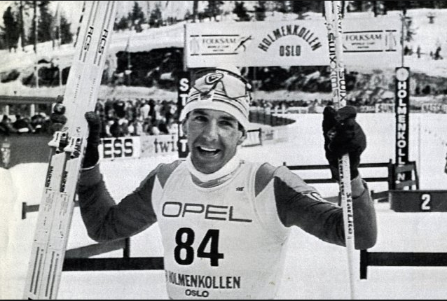 Canada's Pierre Harvey wins the 100th Holmenkollen 50km Classic in 1988 - the first non-European to claim this prestigious title. [P]