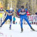 Sam Hendry, (r), with the Canmore Nordic Ski Club, skis to a second place finish in the Junior Boys 10 km individual skate [P] Pam Doyle