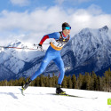 Ty Godfrey, 18, with the Canmore Nordic Ski Club, skis to win first place in the Junior Mens 10km skate [P] Pam Doyle
