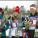 Women's podium (l-r) Randall 2nd, Diggins 1st, Patterson 3rd [P] Lance Parrish, Fairbanks