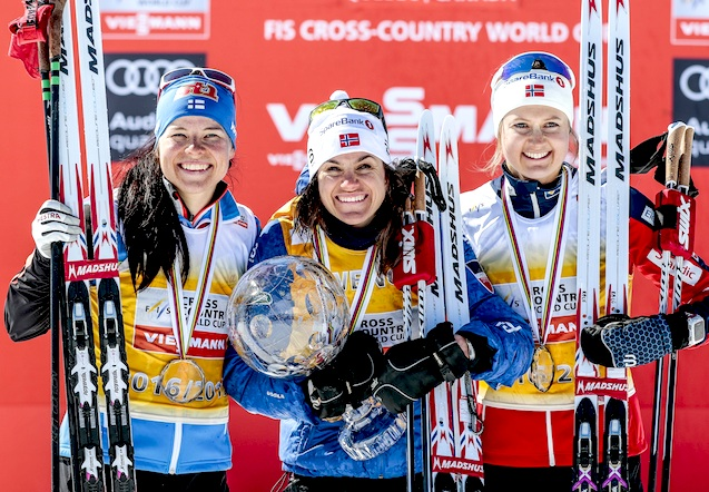 Final World Cup Women's overall podium (l-r) Parmakoski 3rd, Weng 1st, Oestberg 3rd [P] Nordic Focus