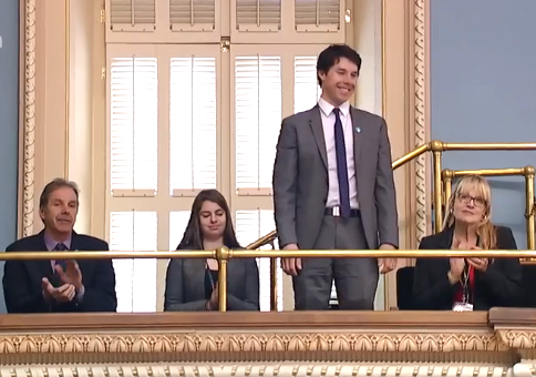Alex Harvey with family in the stands at Quebec's National Assembly [P]