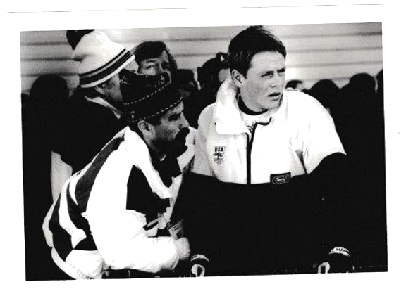 Consoling Josh Thompson following the men's 20km biathlon event at the 1988 Calgary Olympics. [P] Morton Collection