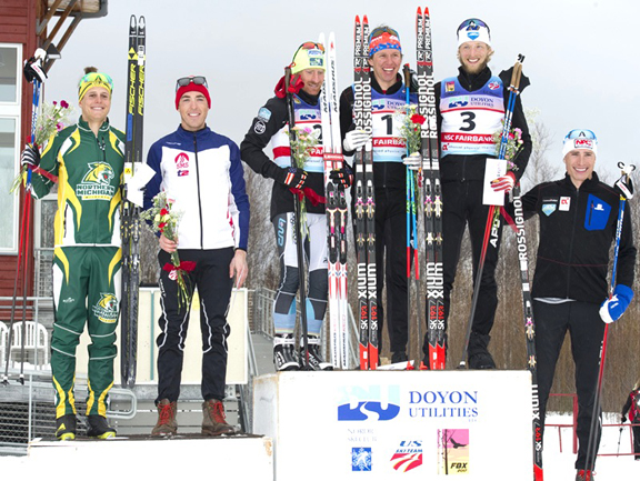 Men's 50km F final podium (l-r) Martin 6th, Kornfield 4th, Gregg, 2nd, Patterson 1st, Packer 3rd, Caldwell 5th [P] Lance Parrish, Fairbanks