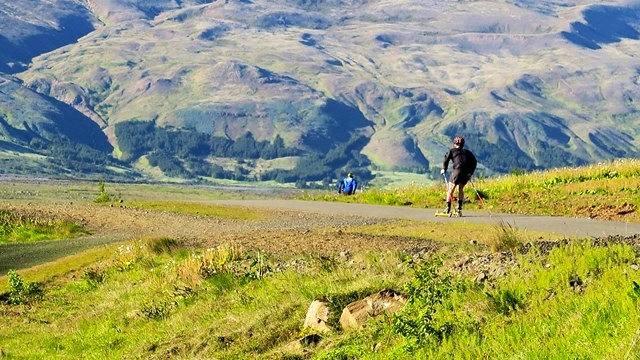 Training on roller skis in Iceland's beautiful surroundings [P] Icelandic Ski Association