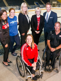 (l-r) COC Chef de Mission Isabelle Charest, next generation athlete Sarah Mitton, CPC CEO Karen O'Neill, Minister Qualtrough, COC CEO Chris Overholt, next generation athlete Élodie Tessier, CPC Chef de Mission Todd Nicholson [P] Adam Pulicicchio/Canadian Olympic Committee