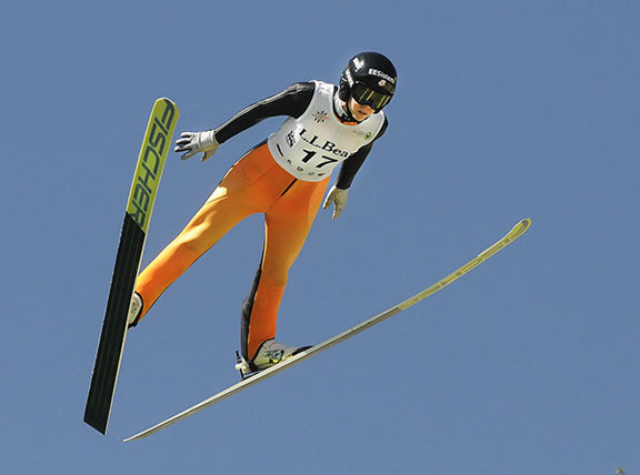 Nita Englund soars to a second career gold in the U.S. Ski Jumping Championships [P] Tom Kelly