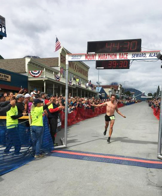 Scott Patterson cruising to victory in the 2017 Mt. Marathon [P] courtesy of APU