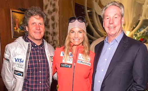 Thom Weisel (r) with Olympic gold medalist Julia Mancuso and Head Alpine Coach Sasah Rearick. [P] USSA