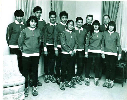 TEST Team with Prime Minister Pierre Elliott Trudeau at Rideau Hall after first European trip in 1969. [P] BPA