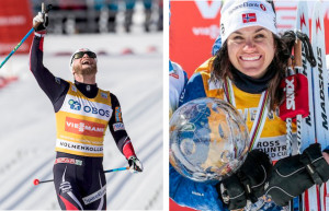 Last season's overall FIS World Cup series winners from Norway Heidi Weng (l) and Martin Johnrud Sundby © Nordic Focus