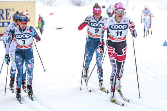 Jessie Diggins (#7) and Sadie Bjornsen (#9) [P] Nordic Focus