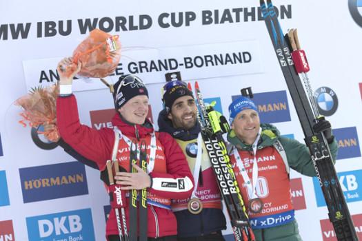 Men's podium (l-r) Boe 2nd, Fourcade 1st, Lesser 3rd [P] Nordic Focus