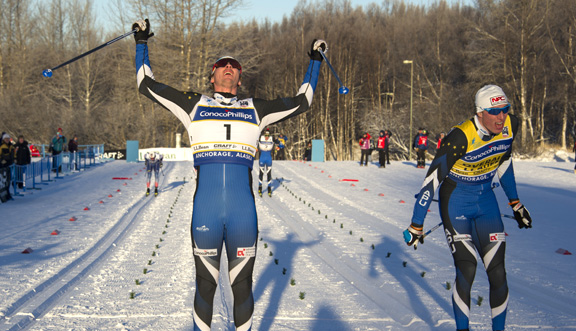 Reese Hanneman celebrates his victory in the men's classic sprint final [P] Michael Dinneen Photography