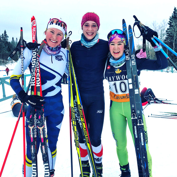 Junior Women's podium (l-r) McIsaac 2nd, Hynes 1st, Racine 3nd [P] Cross Counry Canada