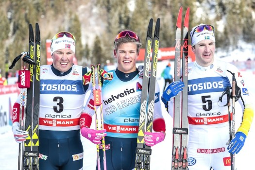 Men's podium (l-r) Iversen, Klaebo, Peterson [P] Nordic Focus