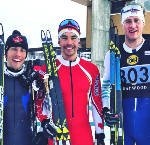Senior Men's podium (l-r) Shields 2nd, Cockney 1st, Thompson 3rd [P] Cross Counry Canada
