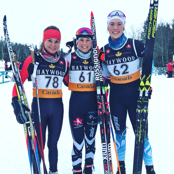 Senior Women's podium (l-r) Comeau 2nd, Browne 1st, Beatty 3rd Johnsgaard [P] Cross Counry Canada