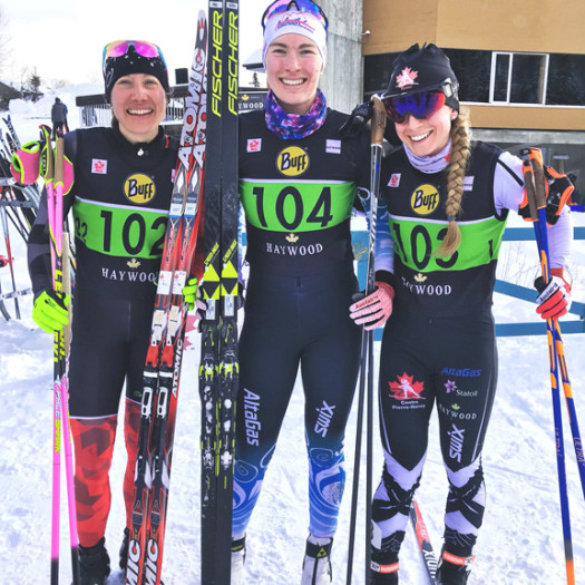 Senior Women's podium (l-r) Kocher 3rd, Beatty 1st, Browne 2nd [P] Cross Counry Canada
