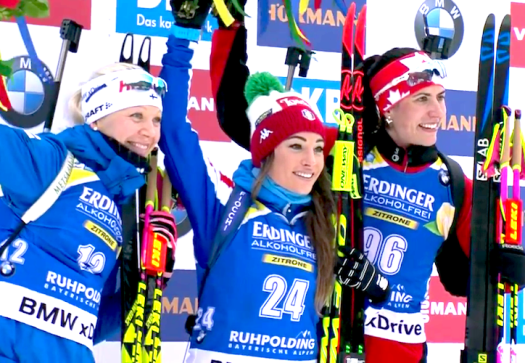 Women's podium (l-r) Makarainen 2nd, Wierer 1st, Crawford 3rd [P] Nordic Focus